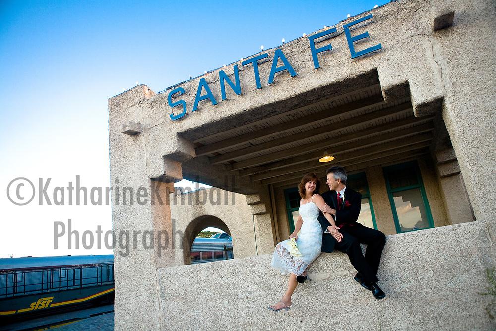 Engagement photos Santa Fe Railyard.