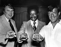 Showing their World Championship rings, John Madden,Willie Brown and Pete Banaszak, 1977. photo by Ron Riesterer)