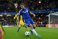Cesar Azpilicueta of Chelsea in action. UEFA Champions League group G match, Chelsea v Maccabi Tel Aviv at Stamford Bridge in London on Wednesday 16th September 2015.<br /> pic by John Patrick Fletcher, Andrew Orchard sports photography.