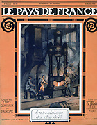 World War I 1914-1918.  Armaments manufacture - using a steam hammer in an ironworks.  Front cover of  'Le Pays de France, 12 August 1915.