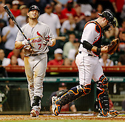 May 4, 2012; Houston, TX, USA; St. Louis Cardinals left fielder Matt Holliday (7) reacts to striking out to end the game against the Houston Astros during the ninth inning at Minute Maid Park. The Astros won 5-4. Mandatory Credit: Thomas Campbell-US PRESSWIRE