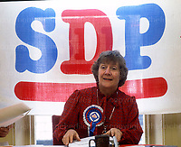 Shirley William, politician and member of the Social Democratic Liberal Party seen campaigning in 1983. Photograph by Terry Fincher