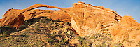 The 290 foot long landscape arch is the longest in the world. But it is also very fragile and could collapse at any time. In the 1990's the arch lost 3 large chunks one at a time. The trail you see in the picture has been off limits for over 20 years because of the danger from rock falls.<br /> <br /> Date Taken: 11/7/2013