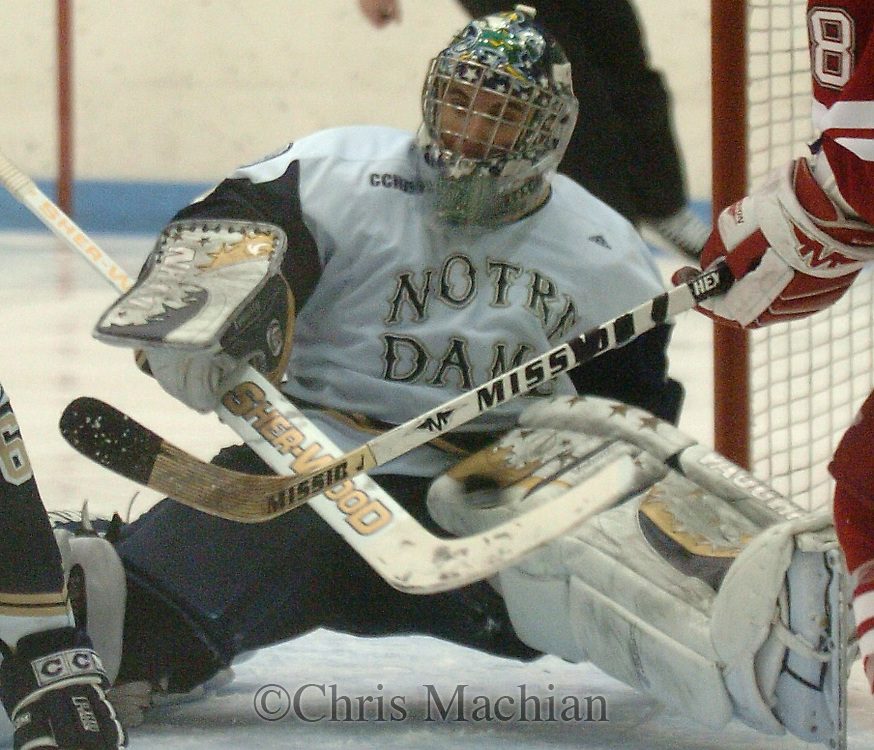 2/9/07 South Bend IN University of Notre Dame David Brown watches the second goal go by during the third period at the Joyce Center Friday evening. (photo by Chris Machian/ Prairie Pixel Group)