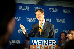 May 19, 2017 - File Photo - Former Rep. ANTHONY WEINER pleaded guilty Friday to transferring obscene material to a minor and will register as a sex offender.'I accept full responsibility for my conduct. I have a sickness, but I do not have an excuse,' Weiner said through pauses and bouts of tears in an emotional statement. 'I entered intensive treatment.' As part of the plea agreement, he also will have to forfeit his iPhone, surrender his passport, continue mental health treatment and is barred from having any contact with the girl. Pictured: Sept. 10, 2013 - Manhattan, New York, U.S. - NYC Mayoral candidate Anthony Weiner makes a concession speech at his election night party at Connolly's on East 47th Street. (Credit Image: © Bryan Smith/ZUMAPRESS.com)