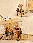 Twice Six are Twelve,/Leave dunces to themselves,/Naughty chaps, to paint their caps./Twice six are ?'.  From 'The Merry Multiplication Table' by Irving Montague (London c1870). Chromolithograph.