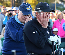 Honorary starters Jack Nicklaus and Gary Player are moved to tears during the ceremony for Arnold Palmer at the honorary start of the Masters at Augusta National Golf Club on Thursday, April 6, 2017, in Augusta, Ga. (Photo by Brant Sanderlin/Atlanta Journal-Constitution/TNS)  *** Please Use Credit from Credit Field ***