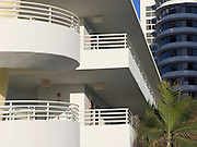 close up of a new Art Deco style hotel Miami Beach