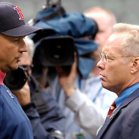 26 April 2007:   Gary Thorne, Baltimore Orioles television announcer on the MASN network (R) talks to Boston Red Sox manager Terry Francona (L) at Orioles Park at Camden Yards in Baltimore. On Wednesday, Thorne said during his broadcast of the Red Sox-Orioles game that Boston backup catcher Doug Mirabelli admitted that Curt Schilling's bloody sock in the 2004 postseason was a hoax. Mirabelli denied ever talking to Thorne, telling The Boston Globe that Thorne's comment was 'a straight lie.'  The Red Sox defeated the Orioles 5-2 to sweep the Orioles in a two game series at Camden Yards in Baltimore, MD.