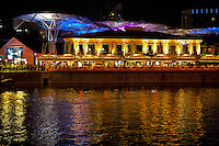 Clarke Quay is a historical riverside quay in Singapore.  It was named after Sir Andrew Clarke, Singapore's second Governor and Governor of the Straits Settlements who played a key role in positioning Singapore as the main port for the Malay states. The Singapore River has been the centre of trade since modern Singapore was founded in 1819.