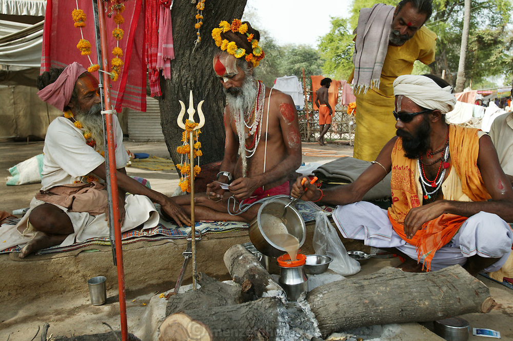 Hindu holy men prepare tea at the Kumbh Mela festival in Ujjain, Madhya Pradesh, India. The Kumbh Mela festival is a sacred Hindu pilgrimage held 4 times every 12 years, cycling between the cities of Allahabad, Nasik, Ujjain and Hardiwar.  Participants of the Mela gather to cleanse themselves spiritually by bathing in the waters of India's sacred rivers. During the festival hundreds of ashrams set up free cafeterias and dusty, sprawling camps that stretch for miles. Thousands of Hindu pilgrims file past the different groups on the way to and from the river and their own dusty camps. (Supporting image from the project Hungry Planet: What the World Eats.).