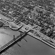 Y-580311-D01.  Hawthorne Bridge, west end. March 11, 1958