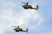 Israeli Air force helicopter, Two Boeing Apache AH-64D longbow in flight.
