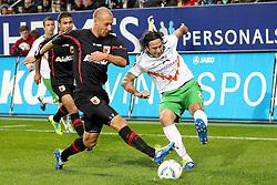 21.10.2011, SGL Arena, Augsburg, GER, 1.FBL, FC Augsburg vs. Werder Bremen, im Bild  Dominik Reinhardt (Augsburg #4) stoppt den schuss von Claudio Pizarro (Bremen #24) // during the FC Augsburg vs. Werder Bremen , on 2011/10/21, SGL Arena, Augsburg, Germany, EXPA Pictures © 2011, PhotoCredit: EXPA/ nph/  Straubmeier       ****** out of GER / CRO  / BEL ******