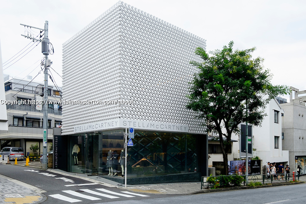 Modern architecture of fashion boutique Stella McCartney in upmarket Aoyama district of Tokyo Japan