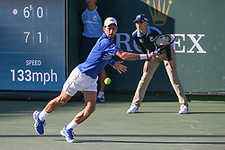 March 8, 2019 - Indian Wells, CA, U.S. - INDIAN WELLS, CA - MARCH 08: Novak Djokovic (SRB) stretches for a backhand while playing doubles during the BNP Paribas Open on March 8, 2019 at Indian Wells Tennis Garden in Indian Wells, CA. (Photo by George Walker/Icon Sportswire) (Credit Image: © George Walker/Icon SMI via ZUMA Press)