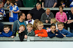 Young Bristol Rovers supporters look in good spirits despite thier side losing 0-1 at half time - Photo mandatory by-line: Rogan Thomson/JMP - 07966 386802 - 03/05/2014 - SPORT - FOOTBALL - Memorial Stadium, Bristol - Bristol Rovers v Mansfield Town - Sky Bet League Two. (Note: Mansfield are wearing a Rovers spare kit having forgotten their own).