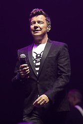 © Licensed to London News Pictures . 09/09/2017. Manchester , UK . Rick Astley perhaps . We Are Manchester reopening charity concert at the Manchester Arena with performances by Manchester artists including  Noel Gallagher , Courteeners , Blossoms and the poet Tony Walsh . The Arena has been closed since 22nd May 2017 , after Salman Abedi's terrorist attack at an Ariana Grande concert killed 22 and injured 250 . Money raised will go towards the victims of the bombing . Photo credit: Joel Goodman/LNP