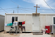 One of the many caravan homes at a camp for internally displaced Christians in Ankawa, a suburb of Erbil in northern Iraq. The IDPs were displaced from their homes in Qaraqosh and other towns in the Ninevah Plains during the 2014 ISIS advance. (May 18, 2017)