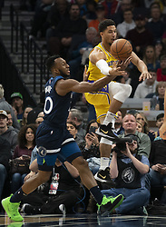 January 6, 2019 - Minneapolis, MN, USA - Minnesota Timberwolves guard Jeff Teague (0) strips Los Angeles Lakers guard Josh Hart (3) of the ball in the first quarter on Sunday, Jan. 6, 2019 at Target Center in Minneapolis, Minn. The Minnesota Timberwolves defeated the Los Angeles Lakers, 108-86. (Credit Image: © Jeff Wheeler/Minneapolis Star Tribune/TNS via ZUMA Wire)