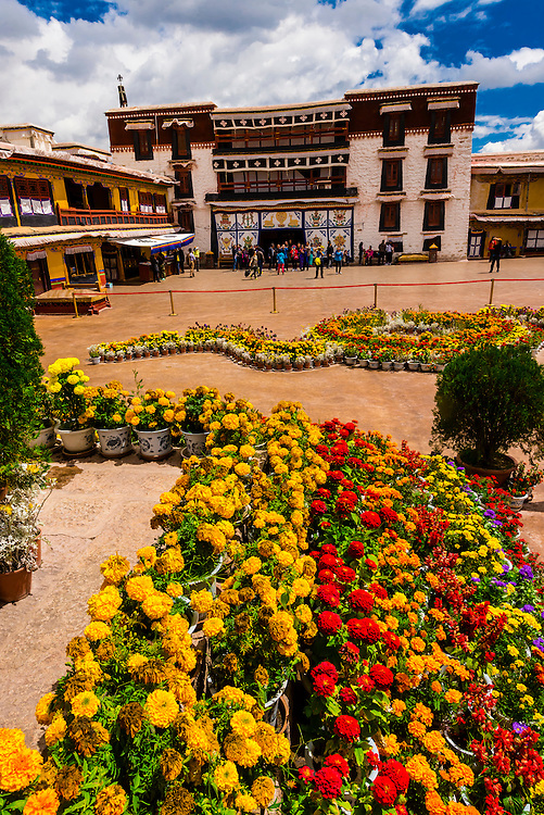 Flowers, The Potala Palace (a UNESCO World Heritage Site) was the chief residence of the Dalai Lama until the 14th Dalai Lama fled to Dharamsala, India, during the 1959 Tibetan uprising. The massive palace contains 999 rooms. Lhasa, Tibet, China.