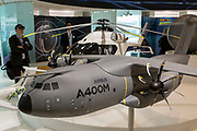 A scale model of the Airbus A400-M transporter aircraft in the company's hospitality chalet at the Farnborough Airshow, on 18th July 2018, in Farnborough, England.