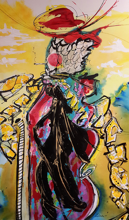 """'MADAME!' . 26 x 44"""" . 2019 . Acrylic and Inks on Canvas"""