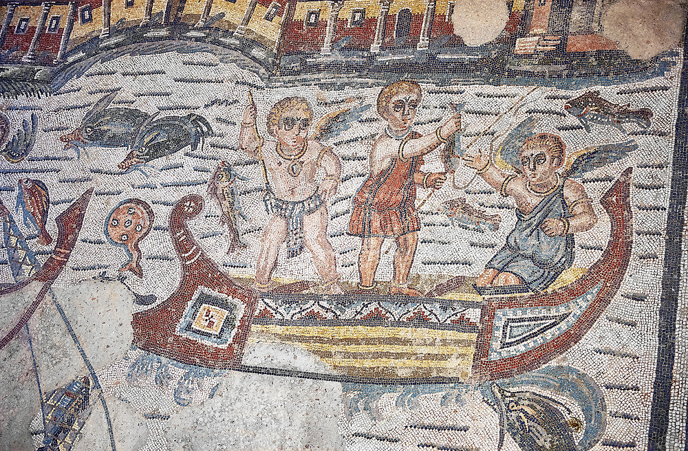 Detail of a Roman Mosaic from the Room of The Fishing Cupids, room 24, at the Villa Romana del Casale, first quarter of the 4th century AD. Sicily, Italy. A UNESCO World Heritage Site. .<br /> <br /> If you prefer to buy from our ALAMY PHOTO LIBRARY  Collection visit : https://www.alamy.com/portfolio/paul-williams-funkystock/villaromanadelcasale.html<br /> Visit our ROMAN MOSAICS  PHOTO COLLECTIONS for more photos to buy as buy as wall art prints https://funkystock.photoshelter.com/gallery/Roman-Mosaics-Roman-Mosaic-Pictures-Photos-and-Images-Fotos/G00008dLtP71H_yc/C0000q_tZnliJD08