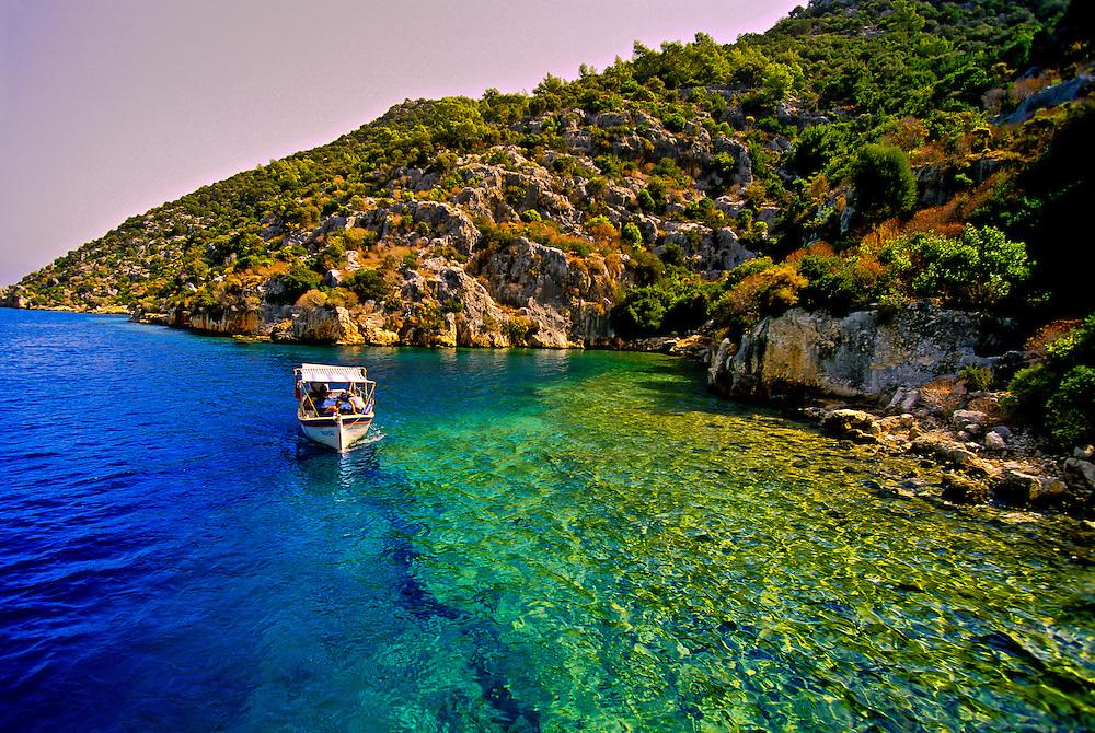 Sunken city off the island of Kekova, Kekova Sound (Turquoise Coast), Turkey
