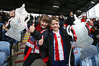 Football - 2019 / 2020 Emirates FA Cup - Second Round: Portsmouth vs. Altrincham<br /> <br /> Two long Altrincham fans with home made FA Cups at Fratton Park <br /> <br /> COLORSPORT/SHAUN BOGGUST