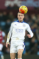 Jamie Vardy of Leicester city has his eyes on the ball. Barclays Premier league match, Aston Villa v Leicester city at Villa Park in Birmingham, The Midlands on Saturday 16th January 2016.<br /> pic by Andrew Orchard, Andrew Orchard sports photography.