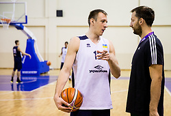 Maksym KORNIYENKO of Ukraine talks to Sasa Zagorac of Slovenia after the practice session of Slovenian National team 1 day prior to the basketball match between National Teams of Slovenia and Ukraine in Round of 16 of the FIBA EuroBasket 2017, at Ahmet Cömert Sports Hall in Istanbul, Turkey on September 8, 2017. Photo by Vid Ponikvar / Sportida