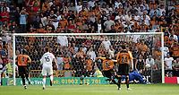 Photo:  Frances Leader.<br /> Wolverhampton Wanderers FC v Leeds United. The Coca-Cola Championship Molineux Stadium.<br /> 14/08/2004<br /> Leeds' Neil Sullivan saves a penalty by wolves kenny Miller.