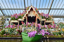 © Licensed to London News Pictures. 08/02/2018. LONDON, UK.  Olivia Steed-Mundin, Diploma Student, works in front of a floating Bang Pa-In palace, part of the Golden Era of Thai history, as she puts the finishing touches to the displays in Kew Garden's first Thai-inspired Orchids Festival.  The festival celebrates Thailand's vibrant colours, culture, and magnificent plant life, runs from Saturday 10 February to Sunday 11 March 2018 and is hosted in partnership with the Royal Thai Embassy, London and Thai Airways.  Photo credit: Stephen Chung/LNP