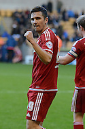 Middlesbrough midfielder Stewart Downing celebrates scoring the third goal during the Sky Bet Championship match between Wolverhampton Wanderers and Middlesbrough at Molineux, Wolverhampton, England on 24 October 2015. Photo by Alan Franklin.