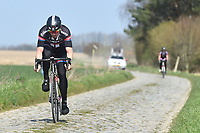 John DEGENKOLB (Ger) Team Giant (Ger) training on april 9 prior to the famous cycling race Paris Roubaix with paving stones paths which will take place on april 12, 2015 - Photo Tim de Waele / DPPI
