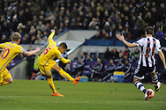 Dwight Gayle (l) of Crystal Palace shoots and scores his sides 1st goal. FA Cup with Budweiser, 3rd round, West Bromwich Albion v Crystal Palace match at the Hawthorns in Birmingham, England on Saturday 4th Jan 2014.<br /> pic by Andrew Orchard, Andrew Orchard sports photography.