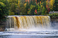 Amber Colored Water Rushes Over Tahquamenon Falls During Autumn, In Michigan's Upper Peninsula, USA