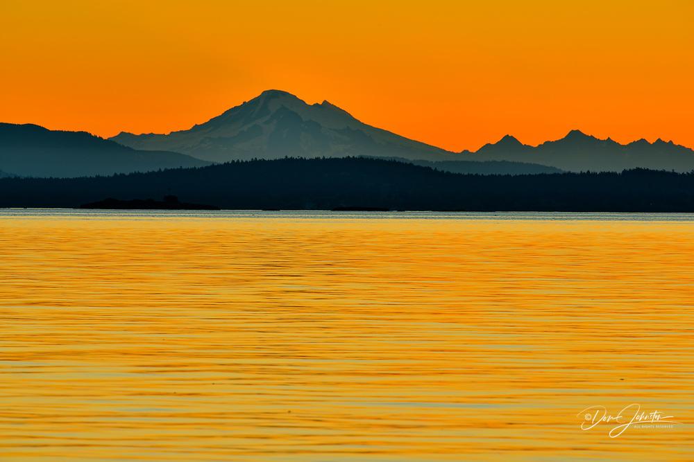 Mount Baker and Cordova Bay at dawn, Victoria, British Columbia, Canada