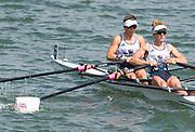 "Rio de Janeiro. BRAZIL.   GBR LW2X. Repechage. Bow. Charlotte TAYLOR and Kat COPELAND. 2016 Olympic Rowing Regatta. Lagoa Stadium,<br /> Copacabana,  ""Olympic Summer Games""<br /> Rodrigo de Freitas Lagoon, Lagoa.   Tuesday  09/08/2016 <br /> <br /> [Mandatory Credit; Peter SPURRIER/Intersport Images]"