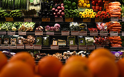 A view of fruit and vegetables in a Whole Foods Market shop in London.