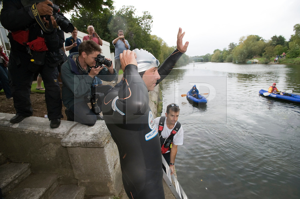 © licensed to London News Pictures. London, UK.  10/09/2011. David Walliams re-entering the River Thames at Monkey Island, Bray, Berkshire today (10/09/2011) on day 6 of his Sport Relief Challenge 'Wallians Vs The Thames'. Photo credit: Ben Cawthra/LNP