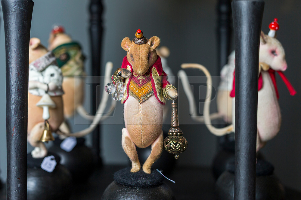 © Licensed to London News Pictures. 20/06/2018. Wakefield UK. Mice that form part of a new exhibition by British artist Mister Finch at Yorkshire Sculpture Park. More than 75 individual soft sculptures showcase Finch's masterful combination of up-cycled and new materials, from discarded wire, steel and wood, to vintage tapestries, cross stitch samplers, tablecloths, antique silverware and rescued cloth. The self-taught artist has drawn inspiration from British folklore, the historic Bretton Estate and Yorkshire wildlife to create his textile wonders. Finch's Gothic fairytale centres around the story of The Wish Post, a magical kingdom of woodland animals whose job it is to collect and sort other creatures' wishes, which are breathed into envelopes and posted in toadstool postboxes. Photo credit: Andrew McCaren/LNP