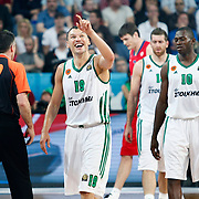 Panathinaikos's Sarunas Jasikevicius (C) and Romain Sato (R) during their Euroleague Final Four semifinal Game 1 basketball match CSKA Moscow's between Panathinaikos at the Sinan Erdem Arena in Istanbul at Turkey on Friday, May, 11, 2012. Photo by TURKPIX