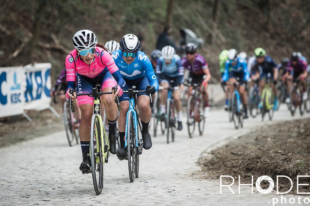 Elisa Balsamo (ITA/Valcar-Travel and Service) with an effort up the Moskesstraat<br /> <br /> Women's Elite Brabantse Pijl 2021 <br /> 1 Day Race: Lennik - Overijse 127km<br /> <br /> ©Rhode.Photo