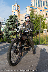 Norm Nelson on his 1911 single-cylinder, single-speed, belt drive Class-1 Reading Standard motorcycle on the boardwalk  during the Motorcycle Cannonball Race of the Century. Stage-1 from Atlantic City, NJ to York, PA. USA. Saturday September 10, 2016. Photography ©2016 Michael Lichter.