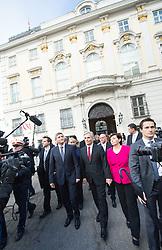 16.12.2013, Bundeskanzleramt, Wien, AUT, Bundesregierung, Angelobung der neuen Bundesregierung, Unterzeichnung des Arbeitsprogramms fuer die Jahre 2013 bis 2018, im Bild v.l.n.r. Vizekanzler und Bundesminister fuer Finanzen Michael Spindelegger (OeVP) und Bundeskanzler Werner Faymann (SPOe) // f.l.t.r. Vice Chancellor of Austria and Minister of Finance Michael Spindelegger (OeVP) and Federal Chancellor of Austria Werner Faymann (SPOe) during signing ceremony of engagement work program 2013 to 2018 during inauguration of the new Government, Chancellors Office, Vienna, Austria on 2013/12/16, EXPA Pictures © 2013, PhotoCredit: EXPA/ Michael Gruber