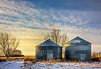 January 18, 2008 - Carseland, Alberta, Canada.  Grain Bins in the country east of calgary near Carseland, Alberta.