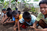 School children learning about perma-culture.<br /> Alianza Arkana has implemented a pilot program establishing an intercultural school in Puerto Firmeza, a Shipibo community near Pucallpa. The vision of the program is to create a truly intercultural education, interweaving Western education – critical for survival in a rapidly globalizing world – and traditional indigenous knowledge. <br /> With highly motivated teachers and a creative, student-focused curriculum, we aim to increase attendance at school, improve educational quality and relevance, strengthen cultural identity, and empower indigenous youth from an early age.