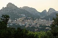 Aggius town & granite hills<br /> Aggius, Sardinia, Italy